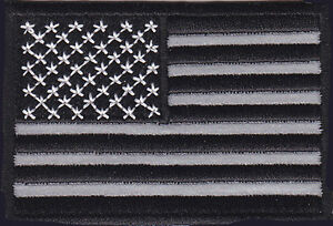 AMERICAN USA FLAG 3 INCH BLACK WHITE REFLECTIVE PATCH IRON ON SEW ON