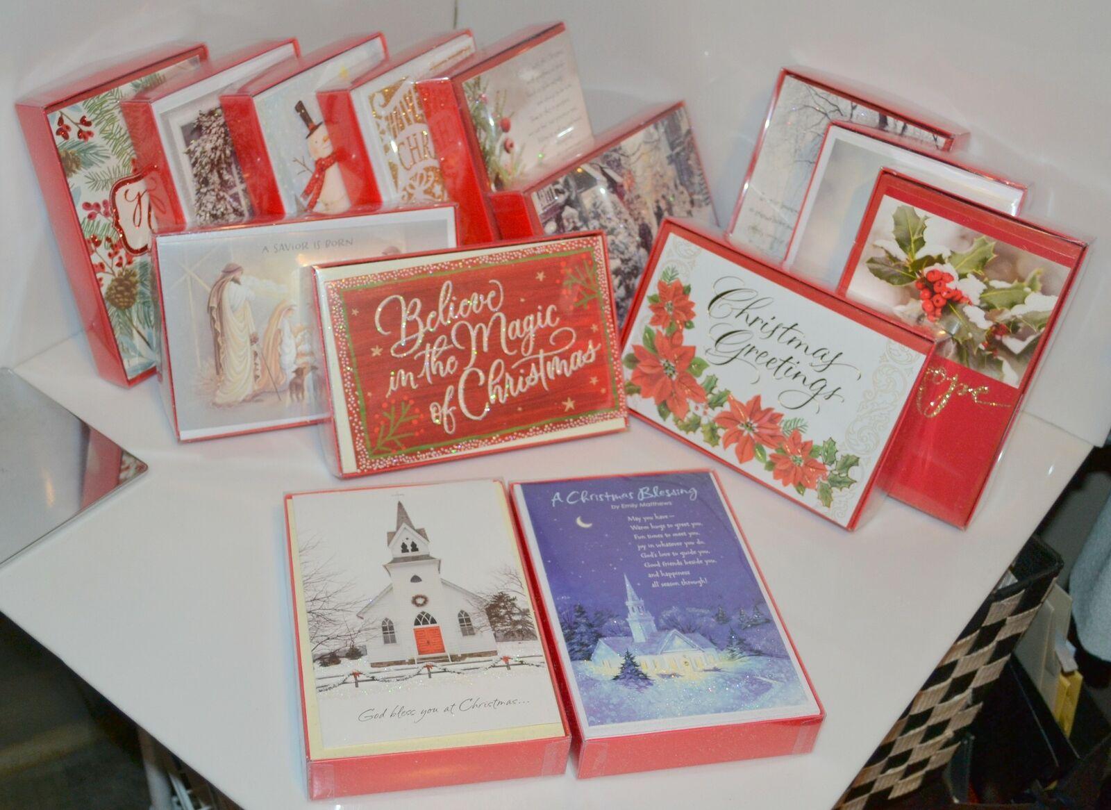 American Greetings Holiday Christmas Cards New 16 Joy Wreath Glitter