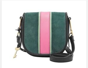 050f23b08b23 Image is loading FOSSIL-RUMI-Alpine-Green-Crossbody-Handbag-Saddle-Leather-