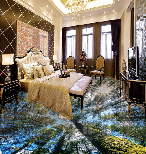 3D Sunny Forest 613 Floor WallPaper Murals Wallpaper Mural Print AJ AU Lemon