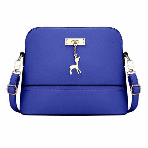 Women PU Leather Vintage Messenger Adjustable Shoulder Crossbody Deer Shell Bag