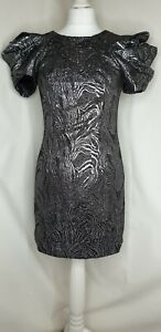 River-Island-Silver-Brocade-80s-Puff-Sleeve-Low-Back-Bodycon-Party-Dress-UK-8