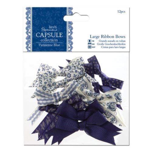 Papermania 12 piezas grandes Arco de la cinta de la cápsula Parisienne Azul Piezas Arco PM