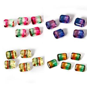 2-7-CT-8-10-MM-Square-Cut-BiColor-Watermelon-Tourmaline-Loose-Gems-Wholesale