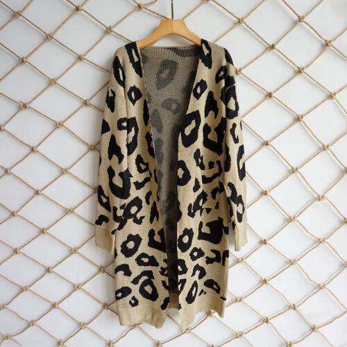 Womens Knit Long Cardigan Leopard Sweater Long Sleeve Open Basic Jacket Coat Top