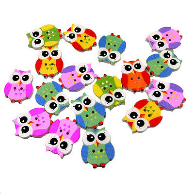 50Pcs Bulk Cute owl Baby Wooden Sewing Buttons Scrapbooking 2 Holes NoEDVR