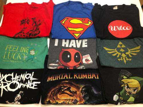 9x Vintage Large T-Shirt Lot Mortal Kombat, Deadpo