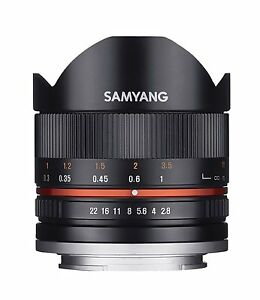 Samyang-8mm-Fischaugen-F2-8-II-Objektiv-Kompatibel-mit-Fuji-X-Black