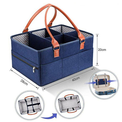 Portable Diaper Caddy Organiser Baby Kids Nappy Storage Handle Basket Tote Bag