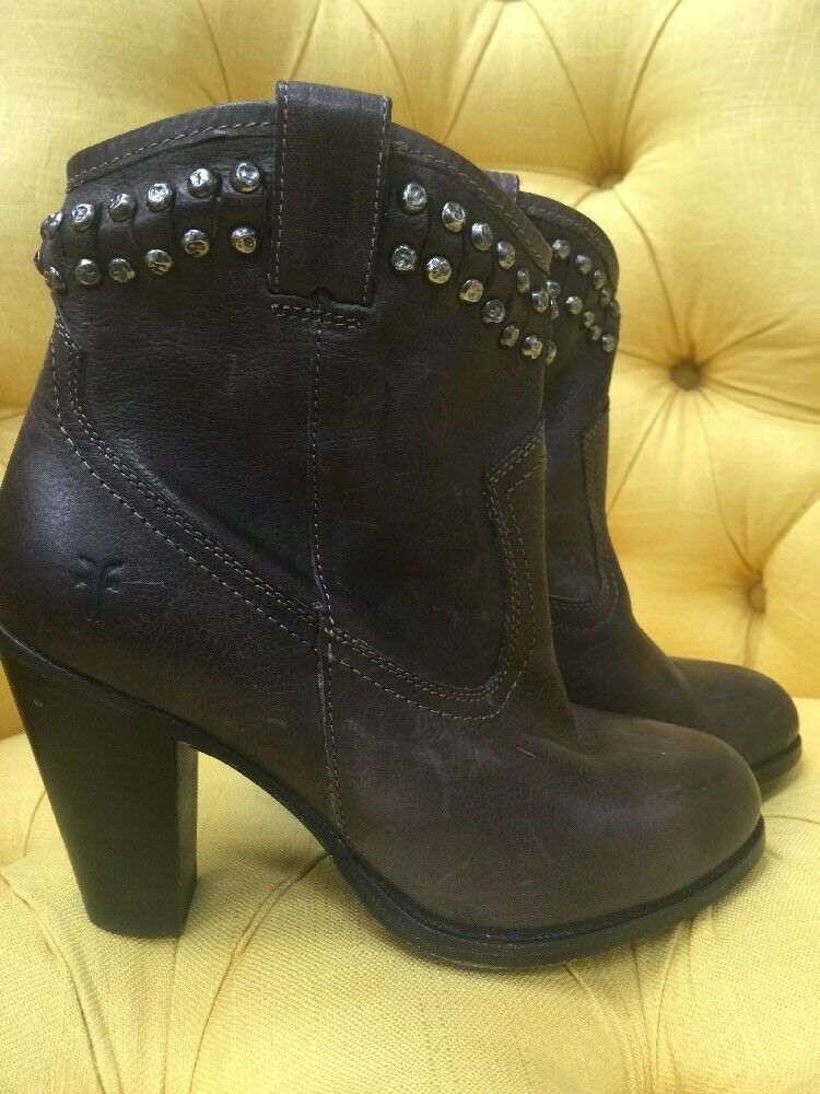 FRYE Jenny Cut-Stud Short Leather Boots High Heel Booties Brown Size 7.5  8  428
