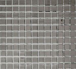 Dettagli su Mosaico piastrella vetro argento metallico muro cucina bagno:  60-0206_b|1 foglio