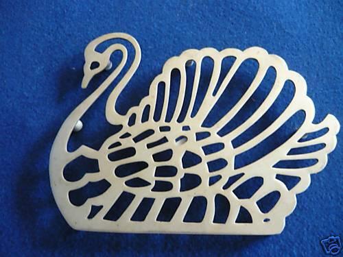 Dessous de pot en argent plaqués en forme de swan
