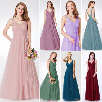 Ever-Pretty A-Line V-neck Evening Dress Full Length Formal Party Gown Mesh 07849