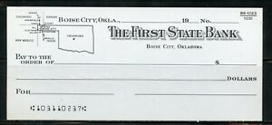 US THE FIRST STATE BANK OF BOISE CITY, OKLAHOMA UNUSED CHECK 19?? AS SHOWN