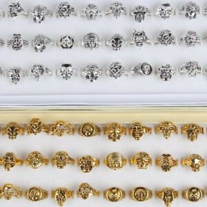 Details about  /100pcs Mix Lot Skull Silver//Gold// Men/'s Rings Jewelry Biker Punk Ring Xmas Gifts