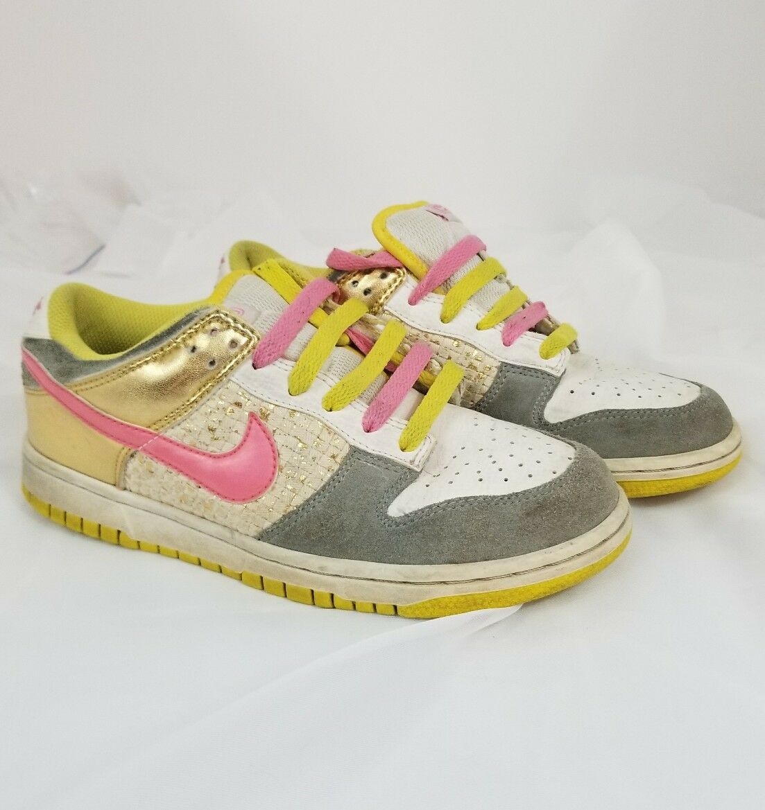 Women's Nike Ylw/Gray/Gold Dunk Athletic Shoes 314141-162 Pink Ylw/Gray/Gold Nike Metallic, Size 7 d5a687