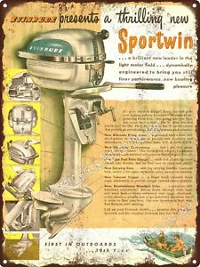 1948 Evinrude Motors Sportwin Outboard Motor Boat Enginemetal Sign 9x12 A269 Ebay