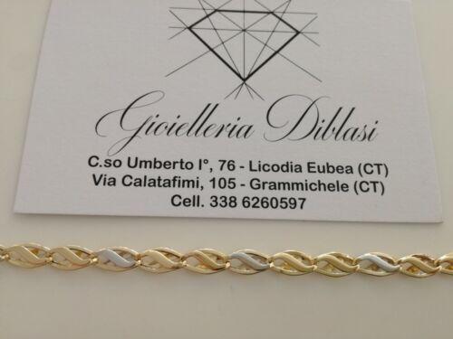 BRACCIALE In ORO Bicolore GIALLO e BIANCO Unisex Oro 18 KT 750/% Made In Italy