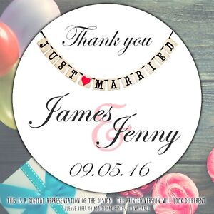 Personalised-Just-Married-Wedding-Party-round-stickers-labels-party-cone-sheet