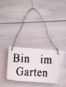 Holzschild-Schild-Holz-Bin-im-Garten-weiss-Shabby-Vintage