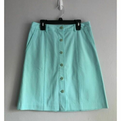 J McLaughlin Teal Button Front A Line Skirt Size 2