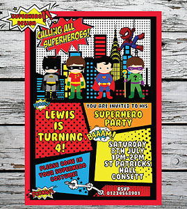 Image Is Loading 10 Personalised Superhero Fancy Dress Birthday Party Invitations