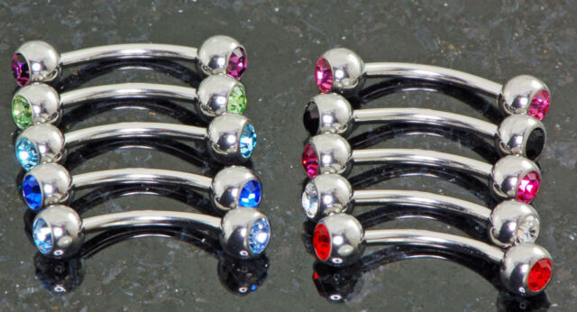 """10 Pc 16g 5/16"""" 10 Color Double C.Z. (3mm) Ball Eyebrow Rings Surgical Steel"""