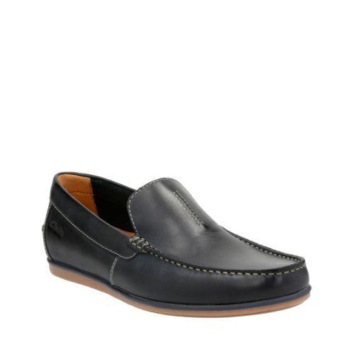 Clarks Para hombre Bristow Cocherera Slip-on Loafer Azul Marino Cuero Informal Zapatos 26126027