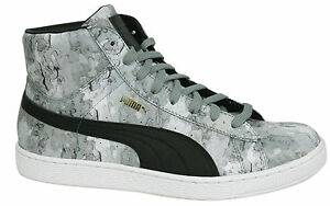 half off 1d257 4be5a Details about Puma Basket Classic Mid Lace Up Mens Grey Black Leather  Trainers 357370 01 U54