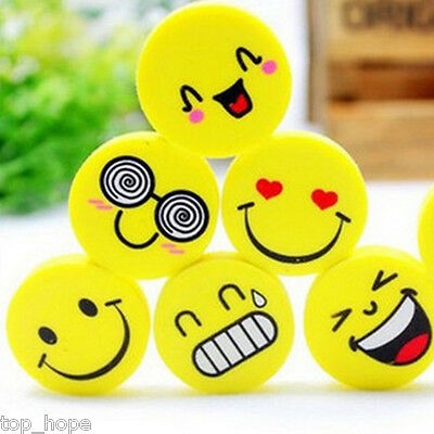 4X Lovely Cute Smiling Face Rubber Pencil Eraser Kids Child Stationery Gift Toy