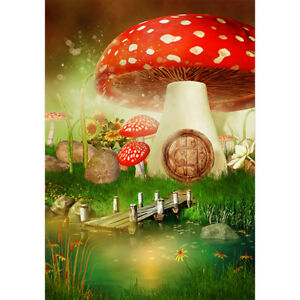 Details About Fantasy Mushroom Castle Large Garden Flag House Yard Banner Decor Double Sided