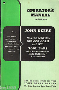 Tool Bars Series Manual Tractor Business & Industrial John Deere 901 901h Heavy Equipment, Parts & Attachments