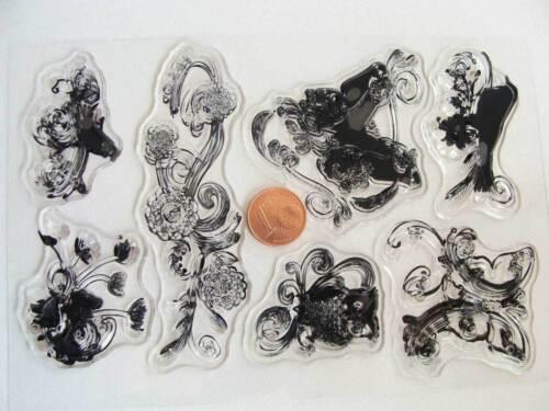 7 tampons plastique transparent Clear Stamps OISEAUX FLEUR Planche 15x10cm MOD3