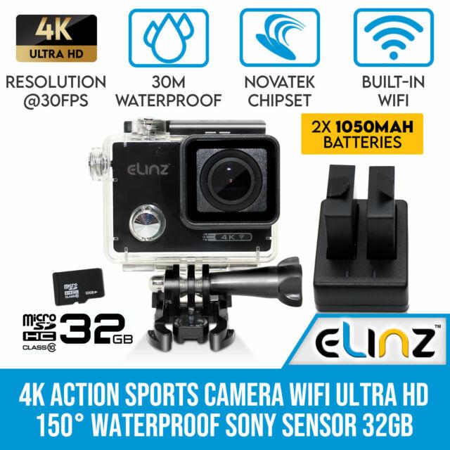 Elinz 4K Action Sports Camera Wifi Ultra HD Video 150° Waterproof Sony Sensor 10