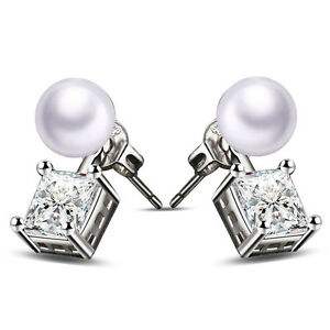 Schmuck-Kristall-Ohr-Klipp-Perlenohrring-Diamant-Versilbert