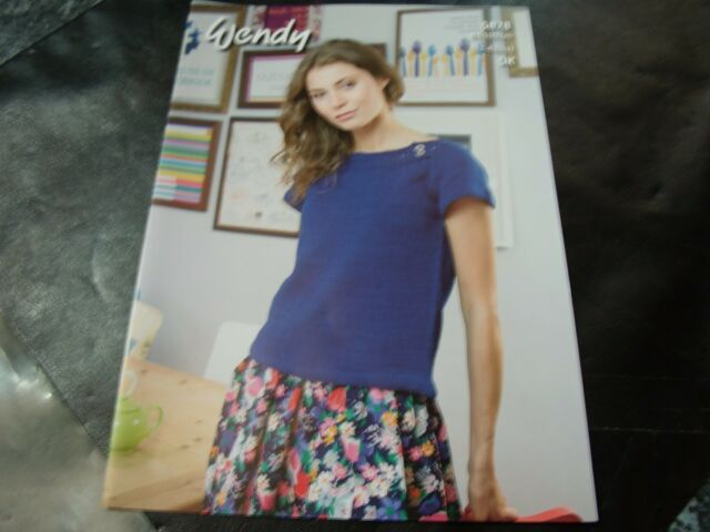 Wendy Ladies Boat Neck Top Supreme Cotton Dk Yarn Knitting Pattern