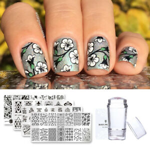 BORN-PRETTY-Nail-Art-Stamping-Plates-Print-Template-Image-Stencil-Kit-Collection