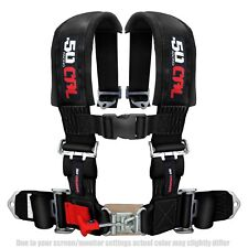 Black Race H Harness Safety Seat Belt 4 Point 3 Pad Sand Rail 2x2 Style