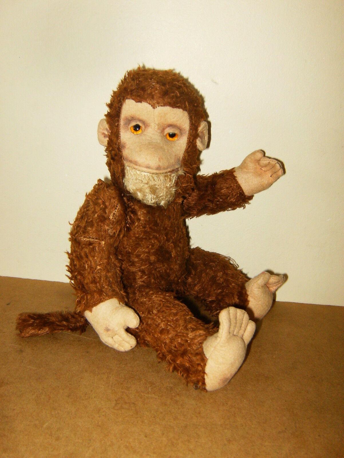 Ancienne peluche singe articulé    vintage stuffed jointed monkey - 12    31cm