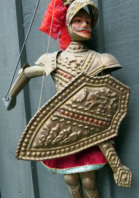 VINTAGE Sicilian Rod Marionette String Marionette Rod PUPPET- RARE Knight Charlemagne 19