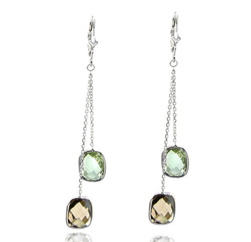 14K White Gold Dangle Earrings With Smoky Topaz And Green Amethyst Gemstones