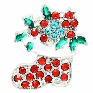 Jewelry 18mm Rhinestone Christmas Tree Button Charm for Noosa Ginger Snaps etc