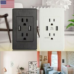 2-USB-Port-Electrical-Outlet-Panel-Wall-Plug-Socket-Charger-AC-Power-Receptacle