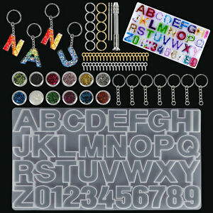 Alphabet Letter Number Silicone Resin Mold Kit DIY Jewelry Making Mould Crafts