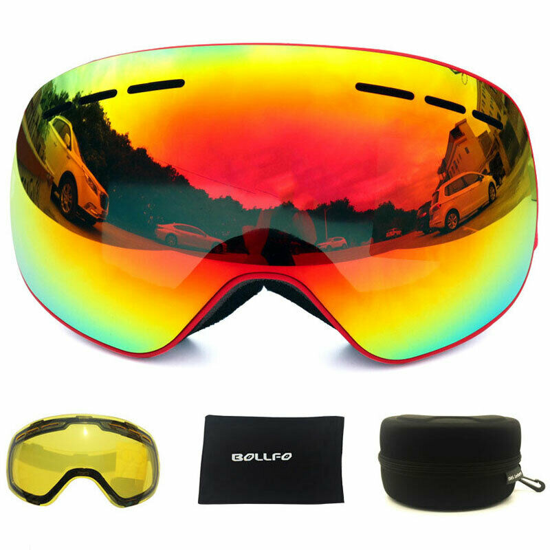 UV400 Anti-fog Magnetic Double Lens Snowboard Glasses With  case Ski Goggles Set  with 100% quality and %100 service