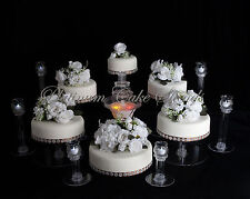 6 TIER CASCADE WEDDING CAKE STAND W/FOUNTAIN & 6 VOTIVE SET (STYLE R603)