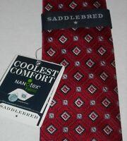Saddlebred Hand Made Red Silk Geometric Tie