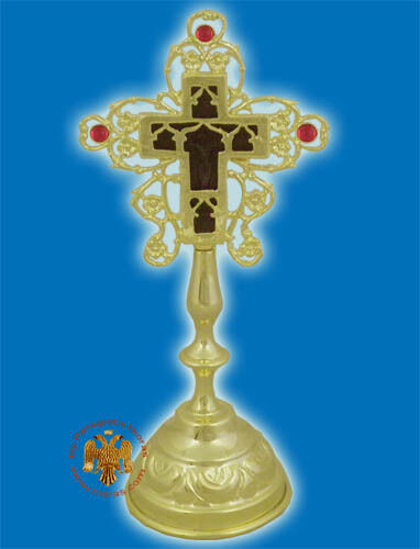 Orthodox Blessing Cross double sided with base offered in  Gold /& Silver plated