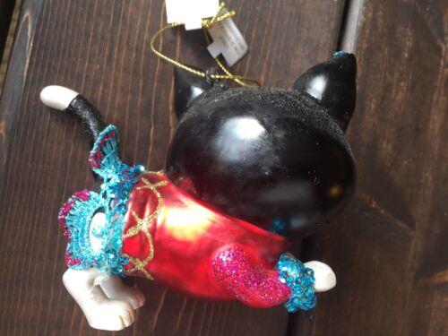 New Glass Blown Christmas Tree Ornament Cat Glitter Funky Holiday TUTU Decor