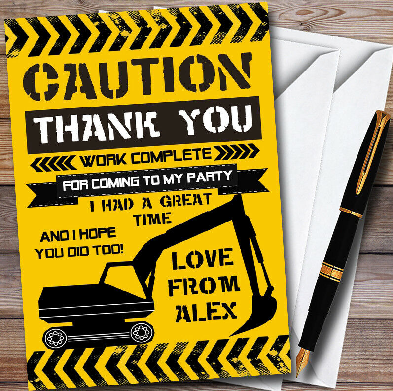 Caution Digger Under Construction Childrens Birthday Party Thank You You You Cards 97ddeb
